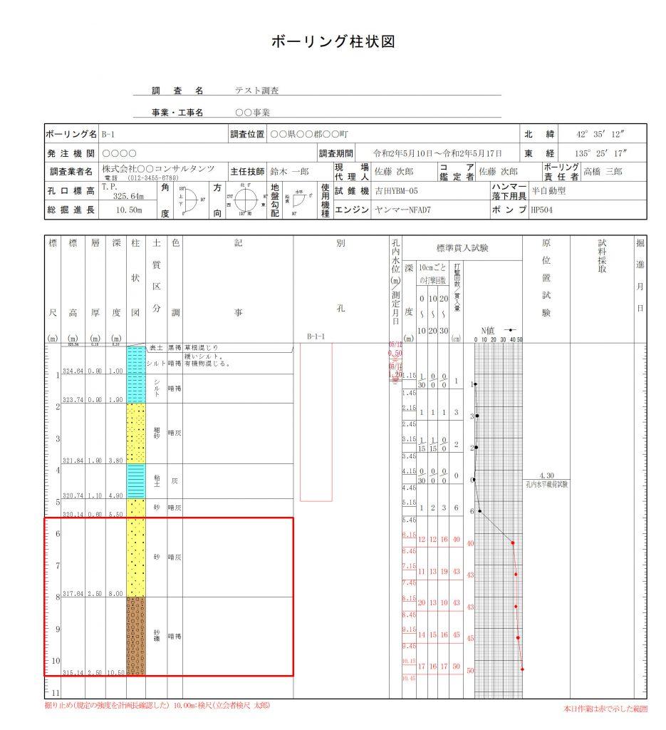 日報ボーリング柱状図サンプル